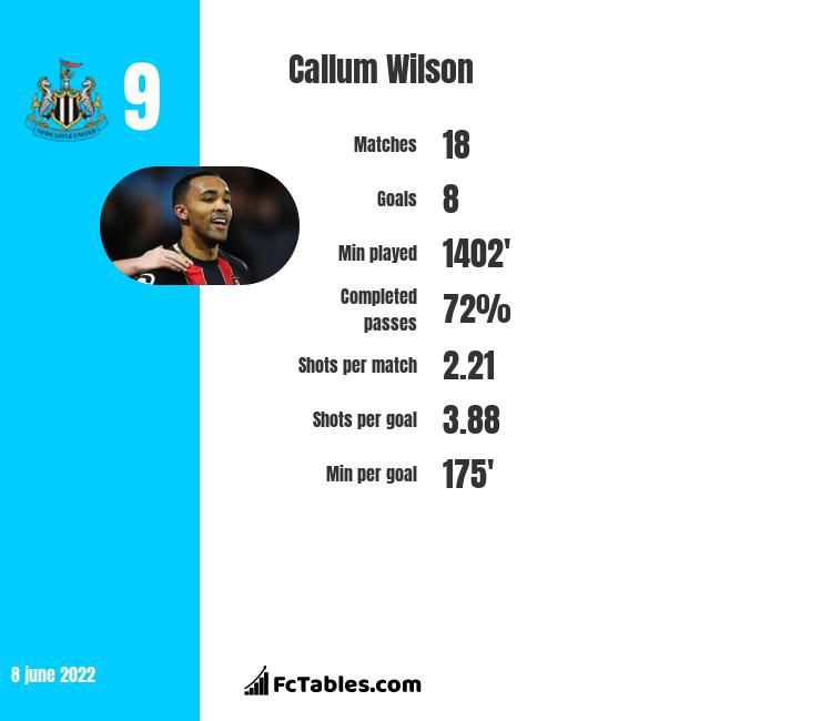 Callum Wilson infographic statistics for Bournemouth