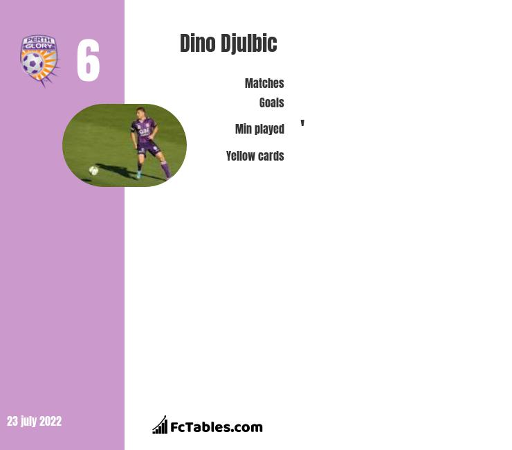Dino Djulbic infographic statistics for Perth Glory