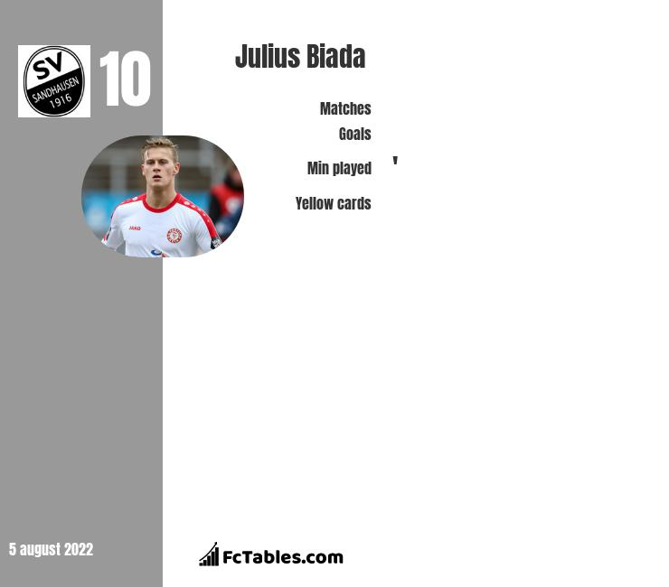 Julius Biada infographic statistics for Sandhausen
