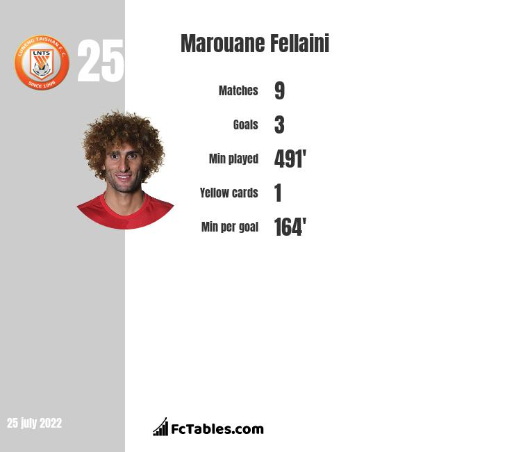 Marouane Fellaini Stastics | profile | goals scored