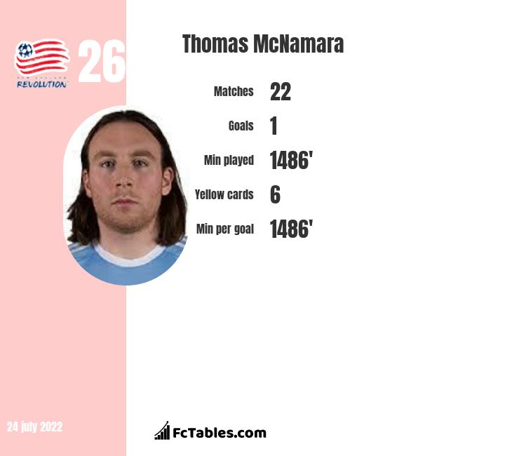 Thomas McNamara infographic statistics for New England Rev.