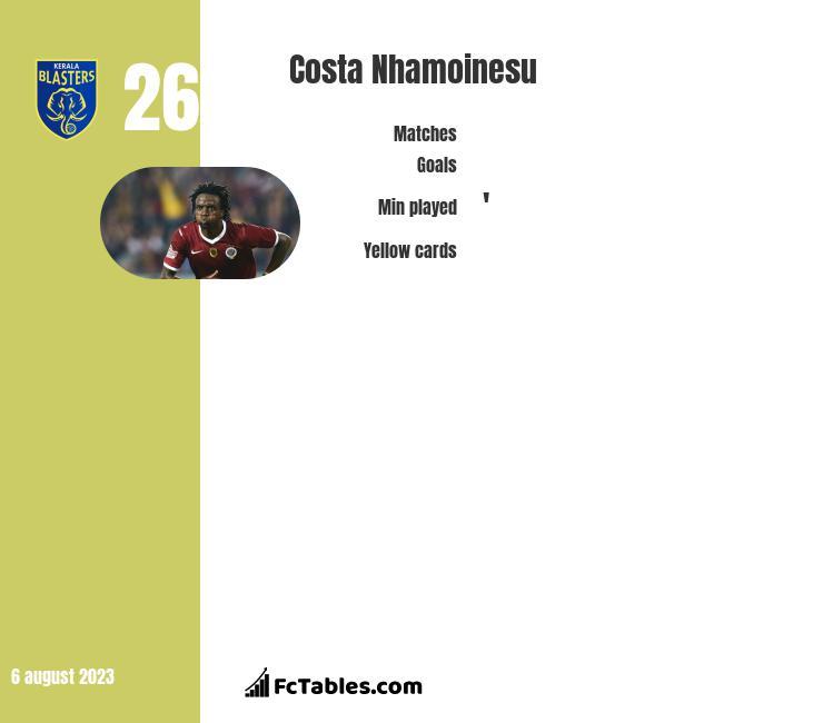 Costa Nhamoinesu infographic