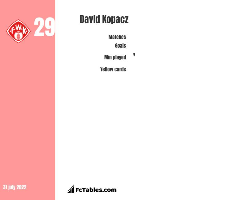 David Kopacz infographic statistics for Gornik Zabrze