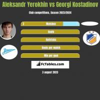 Aleksandr Yerokhin vs Georgi Kostadinov h2h player stats