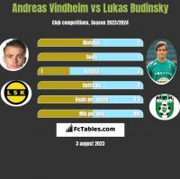Andreas Vindheim vs Lukas Budinsky h2h player stats
