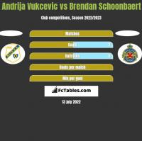 Andrija Vukcevic vs Brendan Schoonbaert h2h player stats