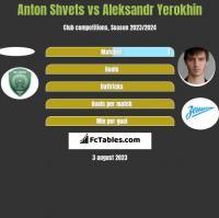 Anton Shvets vs Aleksandr Yerokhin h2h player stats
