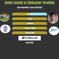 Anton Sosnin vs Aleksandr Yerokhin h2h player stats