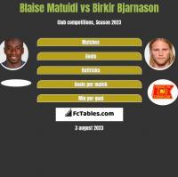 Blaise Matuidi vs Birkir Bjarnason h2h player stats