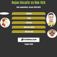 Bojan Cecaric vs Rok Sirk h2h player stats