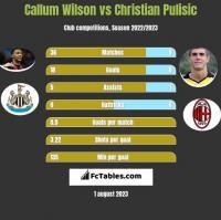 Callum Wilson vs Christian Pulisic h2h player stats