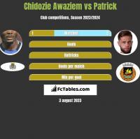 Chidozie Awaziem vs Patrick h2h player stats