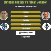 Christian Gentner vs Fabian Johnson h2h player stats