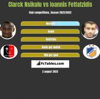 Clarck Nsikulu vs Ioannis Fetfatzidis h2h player stats