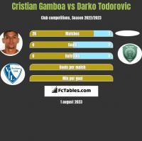 Cristian Gamboa vs Darko Todorovic h2h player stats