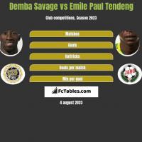 Demba Savage vs Emile Paul Tendeng h2h player stats