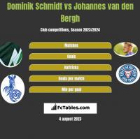 Dominik Schmidt vs Johannes van den Bergh h2h player stats