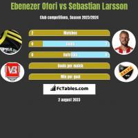 Ebenezer Ofori vs Sebastian Larsson h2h player stats