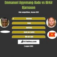 Emmanuel Agyemang-Badu vs Birkir Bjarnason h2h player stats