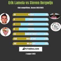 Erik Lamela vs Steven Bergwijn h2h player stats