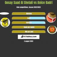 Gosay Saad Al Shelali vs Anice Badri h2h player stats