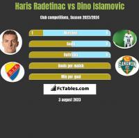 Haris Radetinac vs Dino Islamovic h2h player stats
