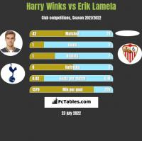Harry Winks vs Erik Lamela h2h player stats