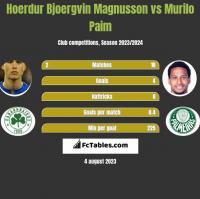Hoerdur Bjoergvin Magnusson vs Murilo Paim h2h player stats