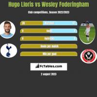 Hugo Lloris vs Wesley Foderingham h2h player stats