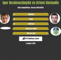 Igor Bezdenezhnykh vs Artem Shchadin h2h player stats