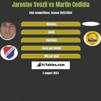 Jaroslav Svozil vs Martin Cedidla h2h player stats