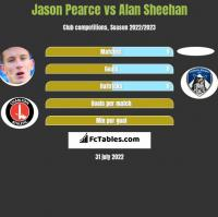Jason Pearce vs Alan Sheehan h2h player stats