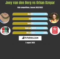 Joey van den Berg vs Orhan Dzepar h2h player stats