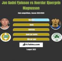 Jon Gudni Fjoluson vs Hoerdur Bjoergvin Magnusson h2h player stats