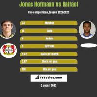 Jonas Hofmann vs Raffael h2h player stats