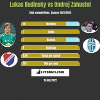 Lukas Budinsky vs Ondrej Zahustel h2h player stats