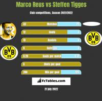 Marco Reus vs Steffen Tigges h2h player stats