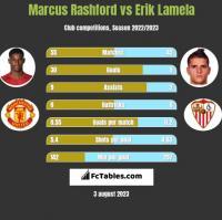 Marcus Rashford vs Erik Lamela h2h player stats