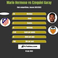 Mario Hermoso vs Ezequiel Garay h2h player stats