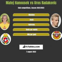 Matej Hanousek vs Uros Radakovic h2h player stats