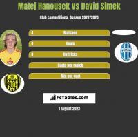 Matej Hanousek vs David Simek h2h player stats