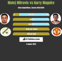 Matej Mitrovic vs Harry Maguire h2h player stats