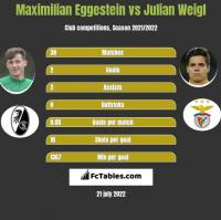 Maximilian Eggestein vs Julian Weigl h2h player stats