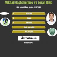 Mikhail Gashchenkov vs Zoran Nizic h2h player stats