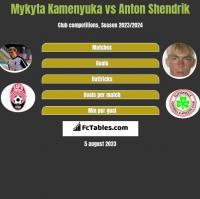 Mykyta Kamenyuka vs Anton Shendrik h2h player stats