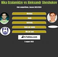 Nika Dzalamidze vs Aleksandr Sheshukov h2h player stats