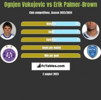 Ognjen Vukojevic vs Erik Palmer-Brown h2h player stats