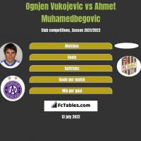 Ognjen Vukojevic vs Ahmet Muhamedbegovic h2h player stats