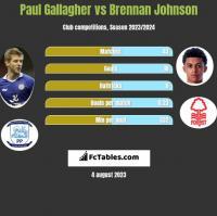 Paul Gallagher vs Brennan Johnson h2h player stats