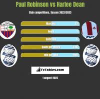 Paul Robinson vs Harlee Dean h2h player stats
